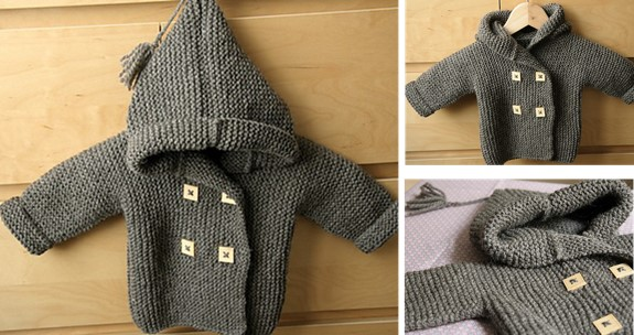 632ed527f Knitted Baby Peacoat With Hood  FREE Pattern + Video Tutorial