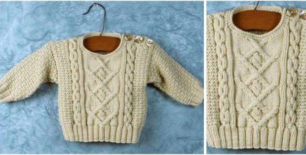 9cbb76385 Baby Poonam Knitted Sweater  Free Knitting Pattern