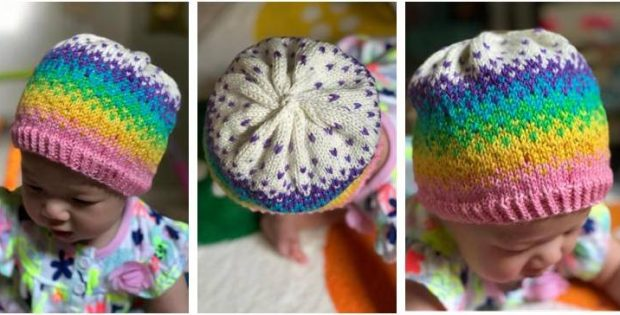 baby rainbow knitted hat | the knitting space