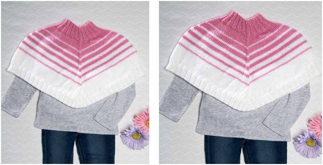 Knitting Pattern Striped Poncho : Comfy Striped Knitted Poncho [Free Knitting Pattern]