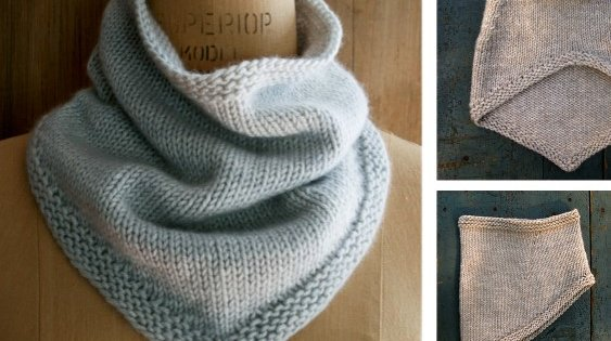 Simple Knitted Bandana Cowl [FREE Knitting Pattern]