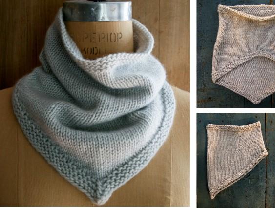 Simple Knitted Bandana Cowl [FREE Knitting Pattern]
