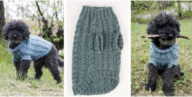 Barking Cables Knitted Dog Jumper Free Knitting Pattern