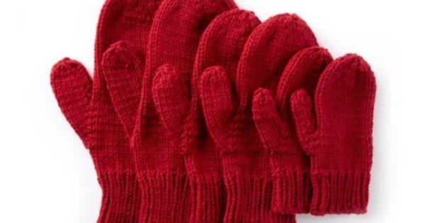 Basic Knitted Family Mittens Free Knitting Pattern