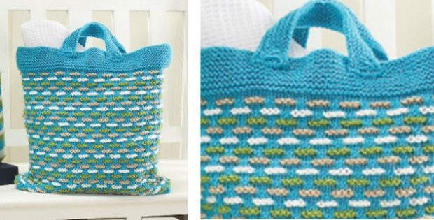 Knit Basket Weave Bag Free Knitting Pattern