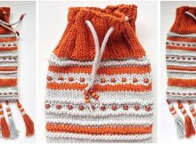 beads 'n tassels knitted drawstring pouch | the knitting space