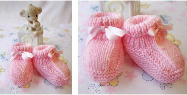 Beehive Knitted Baby Booties Free Knitting Pattern
