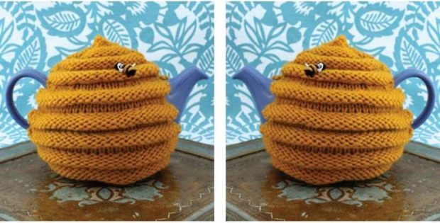 Fun Beehive Knitted Tea Cozy Free Knitting Pattern