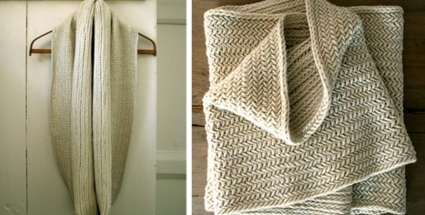 Big Herringbone Knitted Cowl Free Pattern Video Tutorial