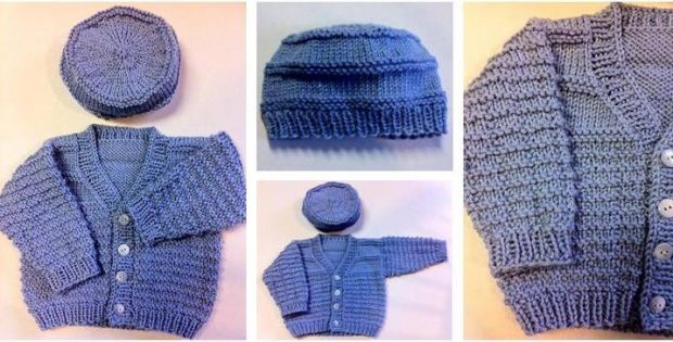 Blue Boy Knitted Baby Set Free Knitting Pattern