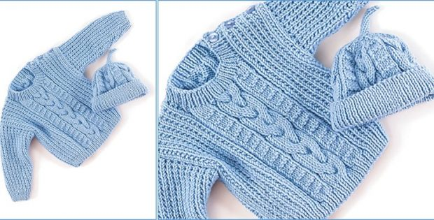 Bob Cabled Baby Cardigan And Hat Free Knitting Pattern