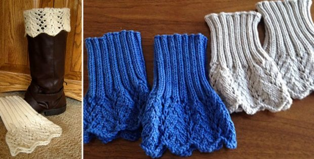 Feather lace knitted boot topper free knitting pattern dt1010fo
