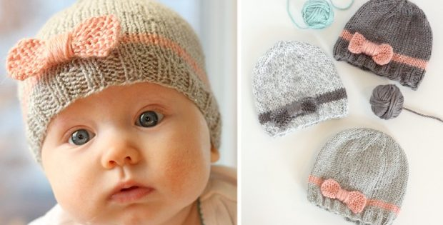 Bow Knitted Baby Beanies Free Knitting Pattern
