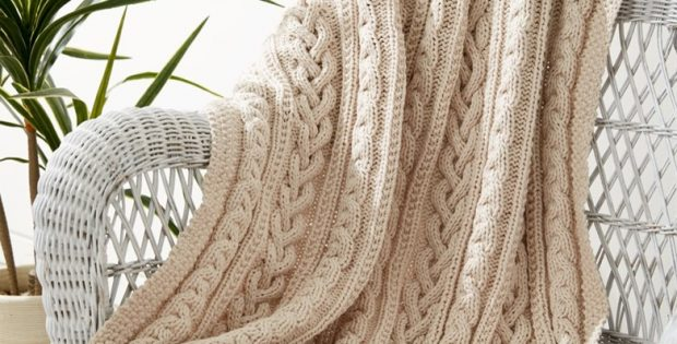 Braided Cables Knitted Throw Free Knitting Pattern