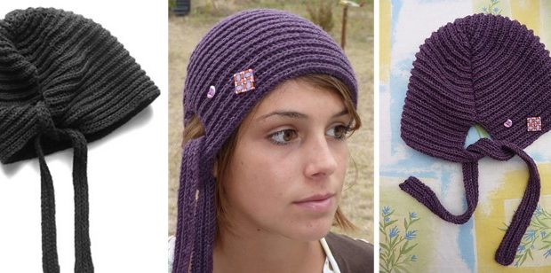 Fun Knitted Brioche Hood Hat [FREE Knitting Pattern]