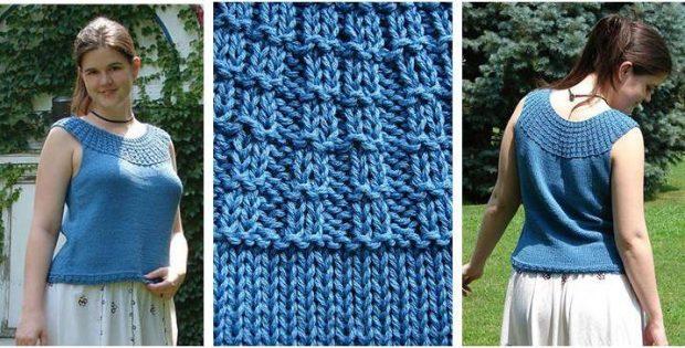 Broken Rib Knitted Tank Top Free Knitting Pattern