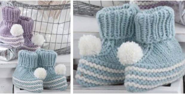 bubbly knitted baby booties | the knitting space