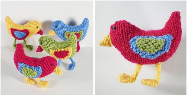 Busy Birds Knitted Ornaments Free Knitting Pattern