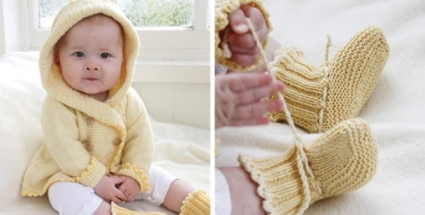 Buttercup Knitted Hooded Baby Jacket And Booties Free Pattern