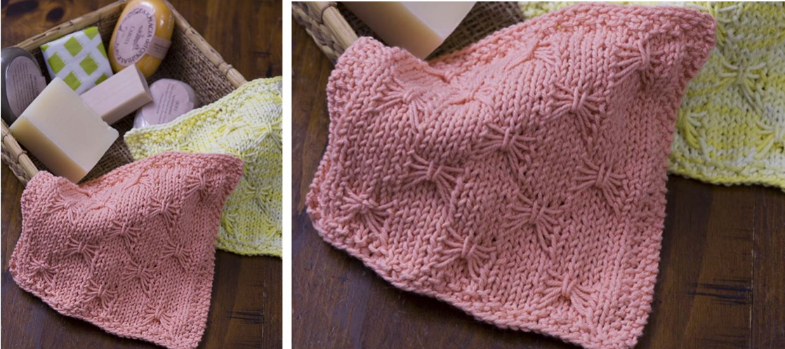 Knit Butterfly Wash Cloth [FREE Knitting Pattern]