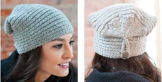 Stylish Knitted Button Flap Hat Free Knitting Pattern