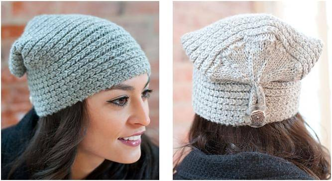 Knitting Pattern Hat With Button : Stylish Knitted Button Flap Hat [FREE Knitting Pattern]