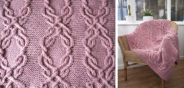 e0535da28be6 Stunning Knitted Cable Lap Blanket  FREE Knitting Pattern