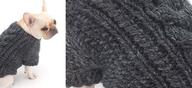 2f643184874257 Knitted Cabled Dog Cardigan  FREE Knitting Pattern