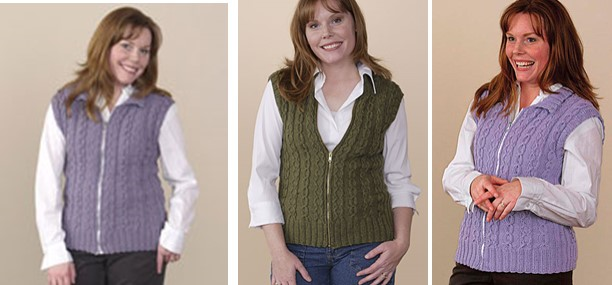 Knitted Slipped Cable Vest Free Knitting Pattern