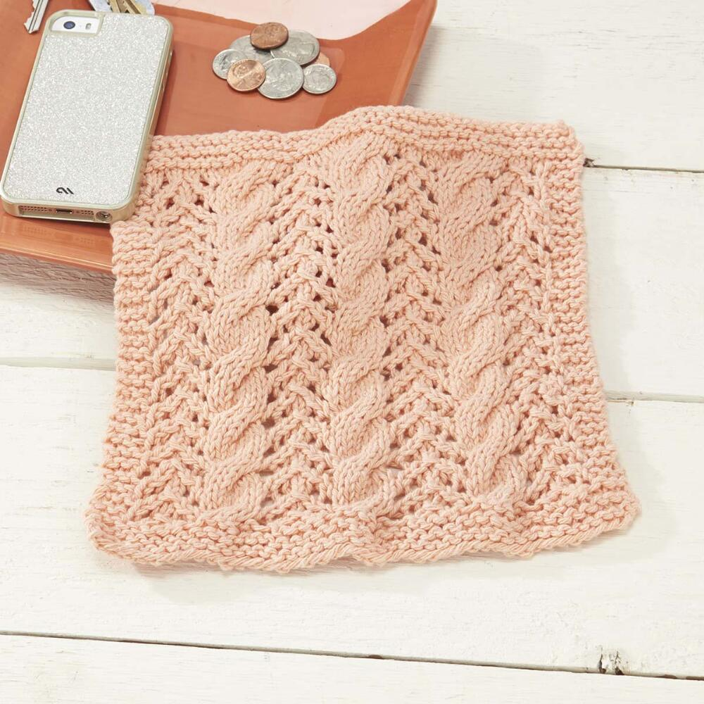 Knitted Dishcloth With Cables And Lace [FREE Pattern]