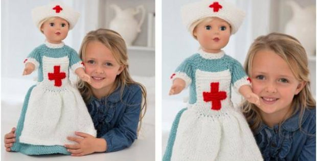 Caring Nurse Knitted Doll Outfit Free Knitting Pattern