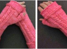 carved cables knitted fingerless mitts | the knitting space