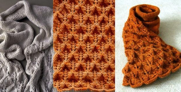 Lovely Knitted Leaf Lace Scarf Free Knitting Pattern