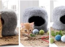 cat cave felted knit house | the knitting space