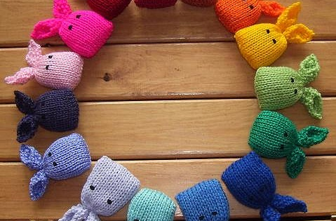 Colorful Knitted Catnip Bunnies Free Knitting Pattern