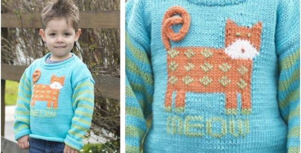 Cat's Meow Knitted Pullover FREE Knitting Pattern