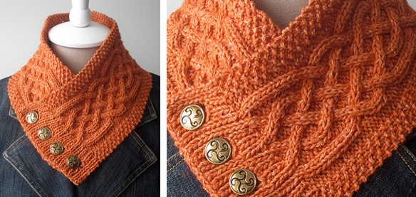 Celtic Cable Knitted Neck Warmer Free Knitting Pattern