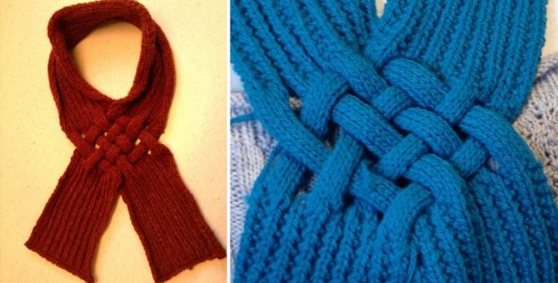Celtic Knot Knitted Looped Scarf Free Knitting Pattern