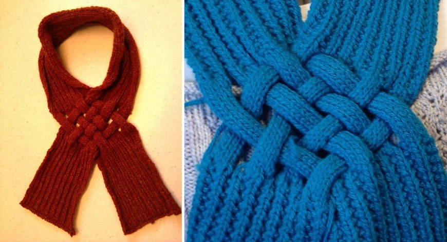 Celtic Knot Knitted Looped Scarf [FREE Knitting Pattern]