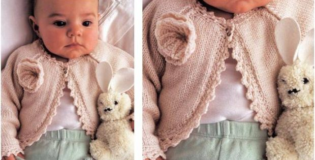 d2f3a9992bf741 Charming Elly Knitted Baby Cardigan  FREE Knitting Pattern