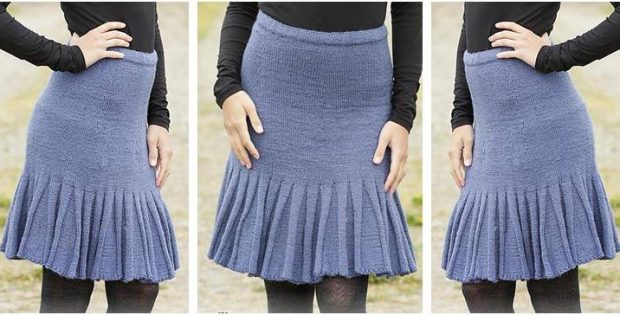 Charming Flounce Edged Knitted Skirt Free Knitting Pattern