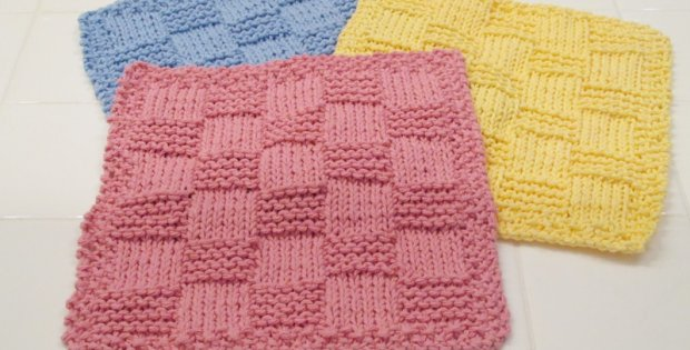 Easy Knitted Checkered Washcloths Free Pattern