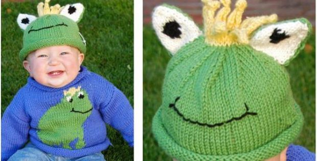fd80ff1eb Cheery Frog Knit Sweater   Hat Set  FREE Knitting Pattern