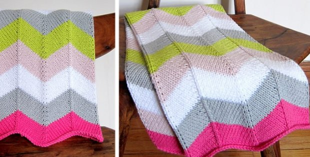 Knitted Chevron Baby Blanket Free Knitting Pattern