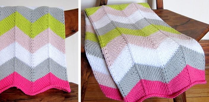 Knitted Chevron Baby Blanket Free Knitting Pattern