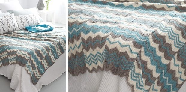 Chevron Panels Knitted Throw Free Knitting Pattern