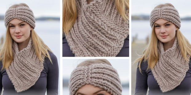 Chunky Knitted Headband And Cowl Free Knitting Pattern