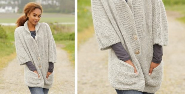 Clarice Knitted Jacket With Pockets Free Knitting Pattern