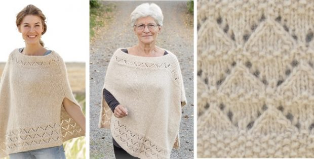 Classy Knitted Poncho With Lace [FREE Knitting Pattern]