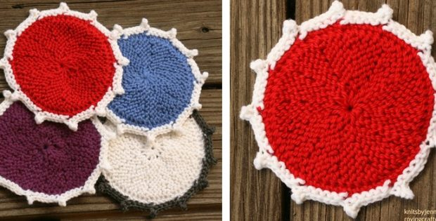 Colored Knitted Round Coasters Free Knitting Pattern